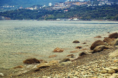 Black Sea in Crimea, pebble beach. Royalty Free Stock Photography