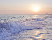 Black sea in Crimea. Wave of water at sunset Stock Photography