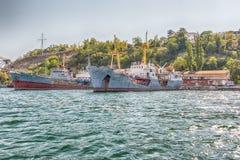 Black Sea Fleet warships in quay of Sevastopol bay, Crimea Stock Image