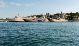Black Sea Fleet warships are on the quay of the Sevastopol Bay. Stock Images