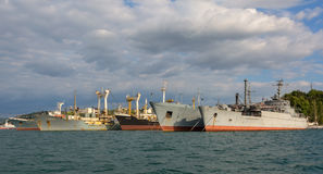 Black Sea Fleet warships are on the quay of the Sevastopol Bay. Royalty Free Stock Photo