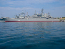 Black Sea Fleet warships on the Sevastopol Bay Stock Photos