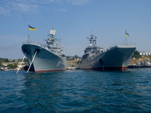 Black Sea Fleet warships on the Sevastopol Bay Royalty Free Stock Photos