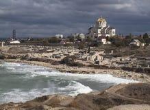 Black Sea i Khersones, Crimea royaltyfri fotografi