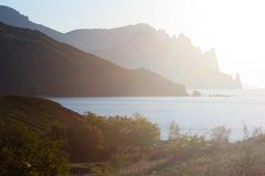 Black Sea and Karadag mountain Stock Photography