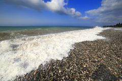 Black Sea kust, Tsandripsh, Abchazien, Georgia Royaltyfria Bilder