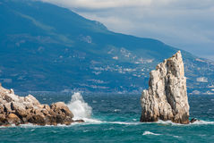Black Sea landscape with Sail crag near Yalta Royalty Free Stock Images