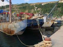 Black Sea. Old fishermen boats. royalty free stock photos