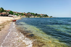 Black sea on old town background. Summer, Bulgaria royalty free stock photo