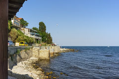 Black sea on old town background. Summer, Bulgaria stock photo
