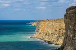 Black Sea på udde Fiolent crimea arkivfoton