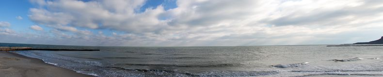 Black Sea Panorama. On the beach at autumn shiny day stock images