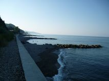 Morning landscape of the beach Vardane in Sochi.Russia. stock image