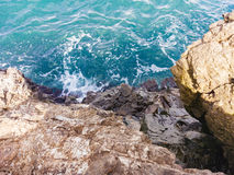 Black sea and rock, Crimea. Black sea in Utes, Crimea stock image