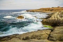 Black Sea Rocks Waves Summer Stock Image