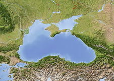 Black Sea, shaded relief map stock illustration
