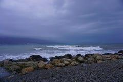 Black Sea, ships, city, mountains. stock photography