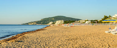 The Black Sea shore from Albena, Bulgaria with golden sands stock images