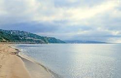 The Black Sea shore from Albena, Bulgaria with golden sands, sun. Blue mystic water, green coastline Stock Photo