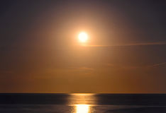 The Black Sea shore from Albena, Bulgaria with white moon Royalty Free Stock Photos