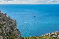 Black Sea shore in Blue bay near Simeiz town Stock Image
