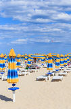 The Black Sea shore, blue clear water, beach with sand, Albena, Bulgaria Royalty Free Stock Photo