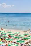 The Black Sea shore, blue clear water, beach with sand, Albena, Bulgaria Stock Photos