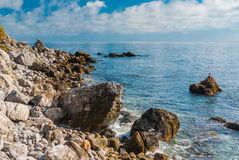 Black Sea shore at fall season, natural reserve on Cape Martyan,  Crimea Royalty Free Stock Image