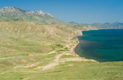 Black Sea shore near Meganome cape in Crimea Stock Photo