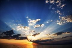 Black Sea solnedgång royaltyfria foton