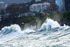 Black Sea storm crimea ukraine yalta royaltyfri fotografi