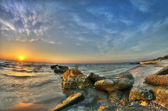 Black Sea. Sunrise at Navodari beach, Black Sea, Romania Stock Photography