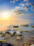 Black sea on sunset. Stock Photos
