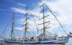Black Sea Tall Ships Regatta 2016, Constanta, Romania. CONSTANTA, ROMANIA - SEPTEMBER 8, 2016. Sailing vessel from six countries at Black Sea Tall Ships Regatta royalty free stock images