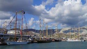 Black Sea Tall Ships Regatta 2016. The picturesque Tsemess Bay of Novorossiysk, Black Sea Tall Ships Regatta in 2016 Royalty Free Stock Image