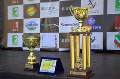Black Sea Tour cups. Cups on the ceremony stage of the first International Cycling Tour of the Bulgarian Black Sea coast, organized by the Bulgarian Cycling royalty free stock photo