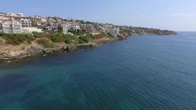 Black sea town of Sozopol near Burgas shotted by drone in summer with sandy beaches stock video footage