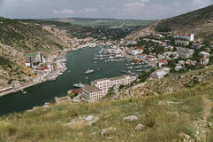 The Black Sea in Ukraine. BALAKLAVA, UKRAINE – CIRCA JULY 2010: view of the city of Balaklava Royalty Free Stock Photography