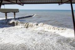 Black Sea waves för textur för hav för illustrationsdesign naturliga Sochi Royaltyfria Bilder