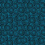 Black Sea Waves Seamless Pattern. Abstract blue and black curly sea waves texture seamless background Stock Image