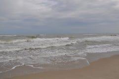Black sea waves. Stormy day. Beach Royalty Free Stock Photos