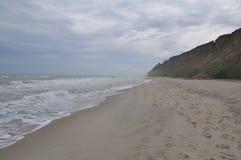 Black sea waves. Stormy day. Beach Royalty Free Stock Photo