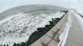 Black sea waves washing the Constanta shore stock video footage