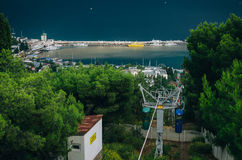The black sea, Wharf, Yalta, funicular. Top view of the seafront of Yalta where the boats Royalty Free Stock Photography