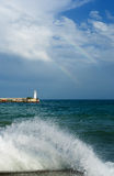 Black Sea and Yalta lighthouse Royalty Free Stock Image