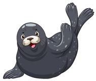 Black seal with happy face Stock Image