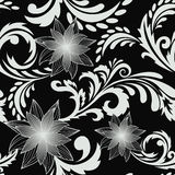 Black seamless background with flowers Royalty Free Stock Photography