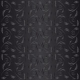 Black seamless background with leaves Royalty Free Stock Images