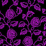 Black seamless background with roses Stock Photos