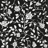 Black Seamless Background With White Roses Royalty Free Stock Photography